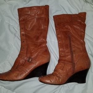 Bronx Leather Wedge Boots w Stud Detail - Cognac
